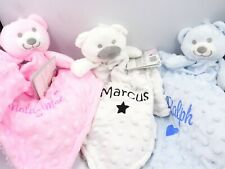 Personalised Embroidered Teddy Bear Dimple Baby Comforter Security Blanket Gift