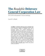 The Readable Delaware General Corporation Law, LoPucki, Lynn M., Good Book