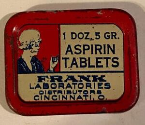 Full Frank Laboratories 2 Pc. Aspirin Tablets Tin