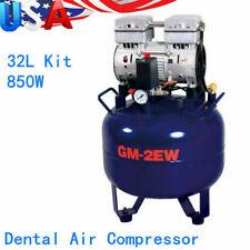 850w 32l Portable Dental Air Compressor 110v Silent Air Compressor Oil Free Tank