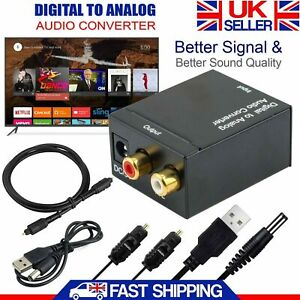 Digital to Analog Audio Converter Optical Coax Toslink to RCA L/R Stereo Adapter