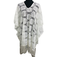 White Floral Lace Fringe Summer Beach Cover Up Swimwear