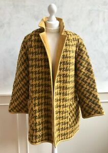 Vintage Mustard Yellow Welsh Wool Houndstooth Reversible Thick Jacket Coat Large