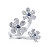14K White Gold Blue Sapphire Diamond Flower Ring 0.65 TCW Natural Wrap Cocktail