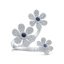 0.65tcw 14K Rose Gold Natural Blue Sapphire Diamond 3 Flower Wrap Cocktail Ring