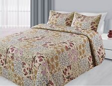 3 Piece Reversible Quilted Printed Bedspread Coverlet All Sizes 20 Colors!!!