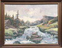 Naturalist Norwegen Schweden Fluss Landschaft AJ Monogramm 49,5 x 63,5 cm