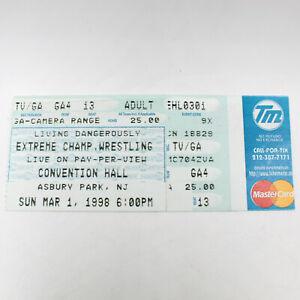 ECW Living Dangerously Ticket Stub 3/1/98, Vintage 90s WWE Wrestling Memorabilia