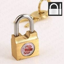 Brass Padlock +2 Keys -MINI- Security Safety Tool Box Gym Locker Tiny/Small Lock