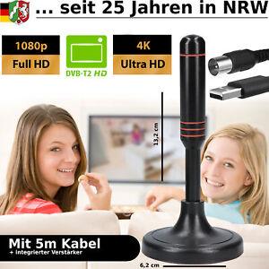 DVB-T2 Antenne FULL HD TV terrestrisch Aktiv DAB Zimmerantenne 30dbi + 5M Kabel