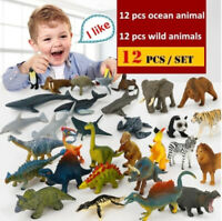 12pcs Kids Small Plastic Figures Wild Ocean Farm Animals Dinosaur-Model Toy Gift