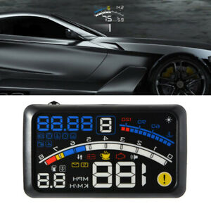 "5.5"" Digital Car Truck HUD Head Up Display OBDII EOBD Warning Alarm Speedometer"