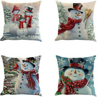 Christmas Pillow Cover Decorative Cotton Linen Pillow Case Soft Cushion Covers