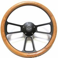 1969 - 1988 Chevy  El Camino Real Oak Steering Wheel & Black Billet Adapter