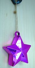 Chunky Pink Star Hanging Christmas Decoration Standing Desk Ornament shiny 10cm