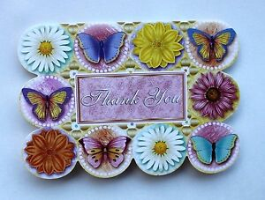*PUNCH STUDIO Set of 6 Die Cut Blank Note Cards ~Butterflies ~ Floral ~Thank You