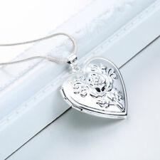 925 SILBER Halsketten Anhänger Herz Amulett mit Kette Medaillon Foto Medallion