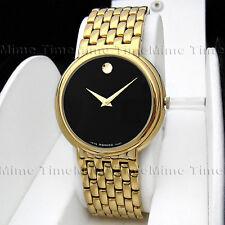 Men's Movado CERTA Latest Model Black Dial 18K Gold Tone Swiss Watch 0605647