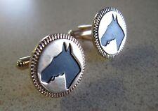 Cufflinks Hickok Black Horse Head Race Equestrian Gold Plate vintage made USA