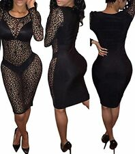 Sexy Black See Through Revealing Lace Dress Plain Back Lace Long Sleeves