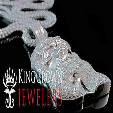 Mens 10K White Gold Silver Simu Diamond Jesus Face Piece Pendant Charm Chain Set