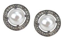 Pendientes de botón Plata A OSCURAS Pendientes de perlas estrás Ella Jonte Boda