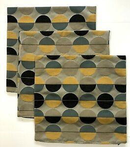 3 IKEA OTTIL Throw Decorative Pillow Covers Sham 20x20 Circles Yellow Gray Taupe