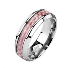 Pretty Women's Solid Titanium Pink Carbon Fiber Wedding Band Ring Size 5-9