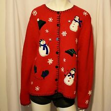 Vintage Ugly Christmas Sweater - Snowman & Snowflakes - NWT Size Large Red