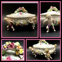 Porcelain Hand Painted Bowl & Lid Holding Four Cherubs, Japan, Meissen Style
