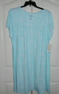 Croft and Barrow Nightgown Soft Cotton Blend Short Sleeve Blue Plus Size 4X NWT