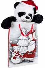 BRUBAKER Panda Ours en Peluche 100 cm avec Casquette Noël dans Sac Cadeau
