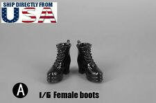 "1/6 Women Shoes High Heel Ankle Boots BLACK For 12"" Hot Toys Phicen USA SELLER"