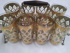 Beautiful Culver Valencia Glass Set 8 Glasses w Stand