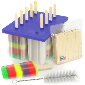 USA BPA FREE Frozen Popsicle Molds, Ice Cream Pop Maker Freezer Tray Fruit Kit