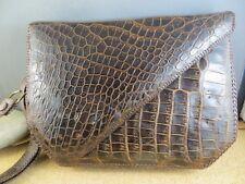 1950's Vintage Alligator Crocodile Skin Brown Handbag Clutch Purse Compartments