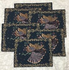 Christmas Place Mats Set of 6 USA Manual Woodworkers & Weavers Musical Angels