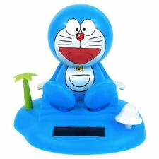 Solar Power Toy Blue Doraemon Anime Cat Smiling on Island Beach Gift US Seller