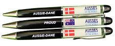 PROUD AUSSIE - DANE AUSTRALIAN METAL PEN DENMARK SOUVENIR GIFT FLOATING FLAGS