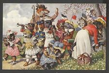 Arthur Thiele, Dog Puppies on Excursion, Dachshunds and Other Dogs, Old Postcard