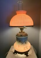 Antique Vintage GWTW Hand Painted Cabin Berry Branch Electrified Oil Table Lamp