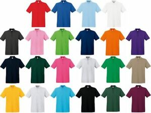 New Fruit of the Loom Men's 100% Premium cotton Short Polo Shirt Sleeves Piqué