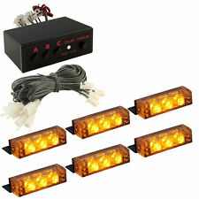 18 Amber LED Emergency Vehicle Flash Strobe Lights For Car Front Deck Dash Grill