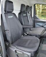 Ford Transit Custom - Black Tailored Heavy Duty Van Seat Covers - Sport Logo