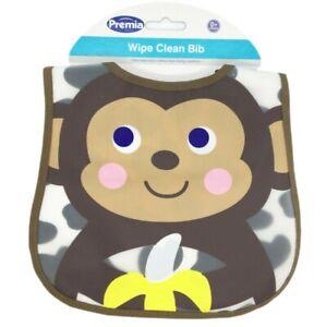 Premia Baby Waterproof Wipe Clean Bib, 0+ Months, Monkey design, 2 Pack