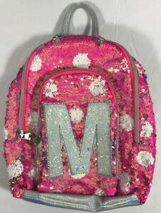 Justice Pink Flip Sequin Initial M Mini Polkadot Backpack