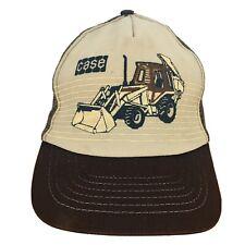 Vintage Case Snapback Trucker Hat Backhoe Tractor Cap Brown Mesh