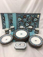 Vera Bradley Andrea By Sadek Java Blue Plates Cups Placemats Lidded Dish Bowls