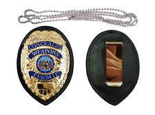 GOLD CONCEALED CARRY PERMIT CCW BADGE + HOLDER and WITH CLIP  + NECK CHAIN