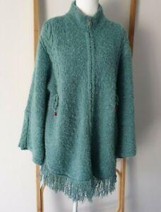 Di Moda Green Boho Wool Blend Shawl Tassel Zip Jumper Cardigan Size Free
